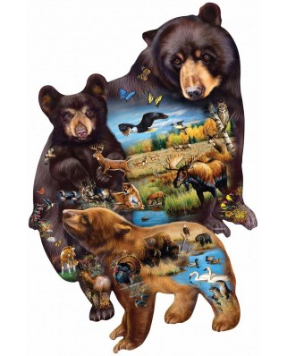 Puzzle contur SunsOut - Cynthie Fisher: Bear Family Adventure, 1000 piese (64385)