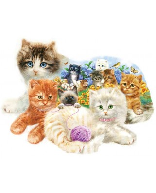 Puzzle contur SunsOut - Giordano Studios - A Litter of Kittens, 1.000 piese (64395)