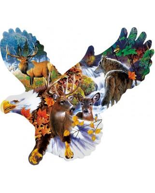 Puzzle contur SunsOut - Jerry Gadamus: Forest Eagle, 1.000 piese (64448)