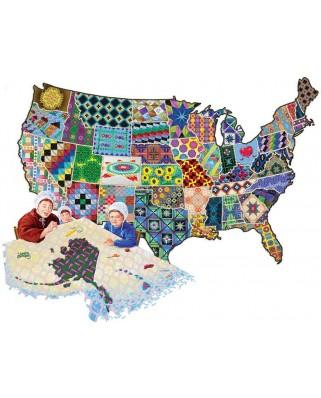 Puzzle contur SunsOut - Joseph Burgess: An American Quilt, 600 piese (64398)