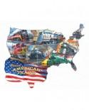 Puzzle contur SunsOut - Larry Grossman: Classic American Trains, 600 piese (64401)