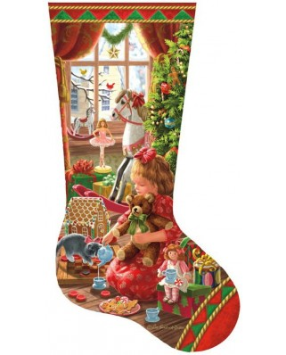 Puzzle contur SunsOut - Liz Goodrich Dillon: A Girl's Stocking, 800 piese (64425)