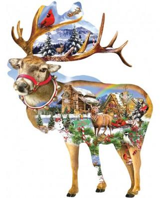 Puzzle contur SunsOut - Lori Schory: Reindeer Training, 800 piese (64451)