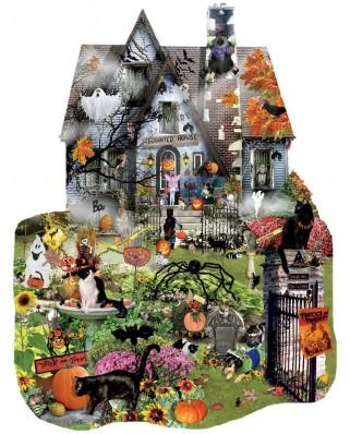 Puzzle contur SunsOut - Lori Schory: Spooky House, 1.000 piese (64383)