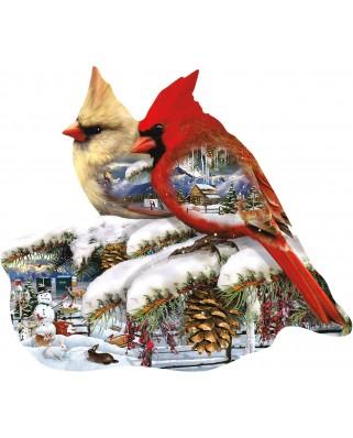Puzzle contur SunsOut - Lori Schory: Winter Cardinals, 800 piese (64437)