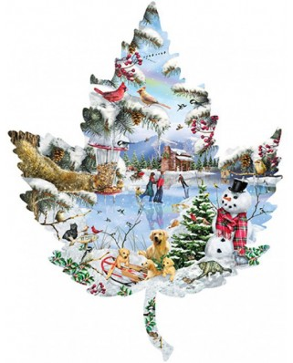 Puzzle contur SunsOut - Lori Schory: Winter on the Lake, 1.000 piese (45415)