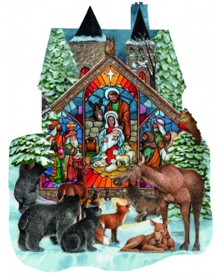 Puzzle contur SunsOut - Parker Fulton: Forest Nativity, 1.000 piese (64408)