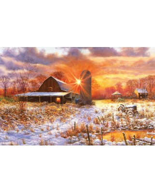 Puzzle SunsOut - Bill Makinson: Snow Barn, 550 piese (64099)