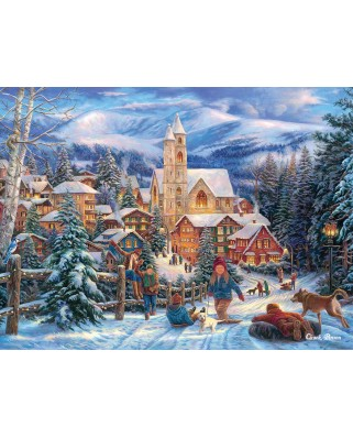 Puzzle SunsOut - Chuck Pinson: Sledding to Town, 1.000 piese (64000)