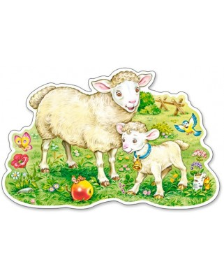 Puzzle contur Castorland - A Lamb With His Mom, 12 piese XXL (120079)
