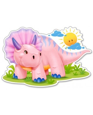 Puzzle contur Castorland - Pink Baby Triceratop, 12 piese XXL (120048)