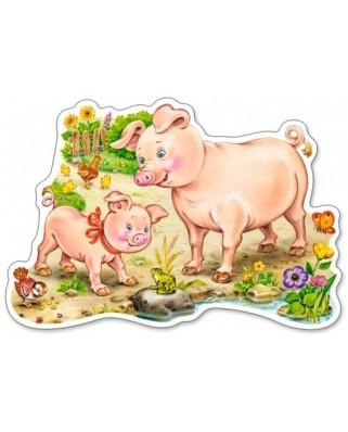 Puzzle contur Castorland - A Piggy With Mom, 15 piese (15016)