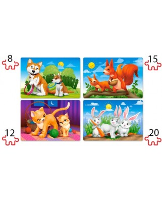 Puzzle Castorland - Lovely Animals, 8/12/15/20 piese XXL (41046)