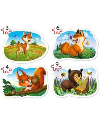 Puzzle Castorland - Forest Animals, 3/4/6/9 piese XXL (005079)