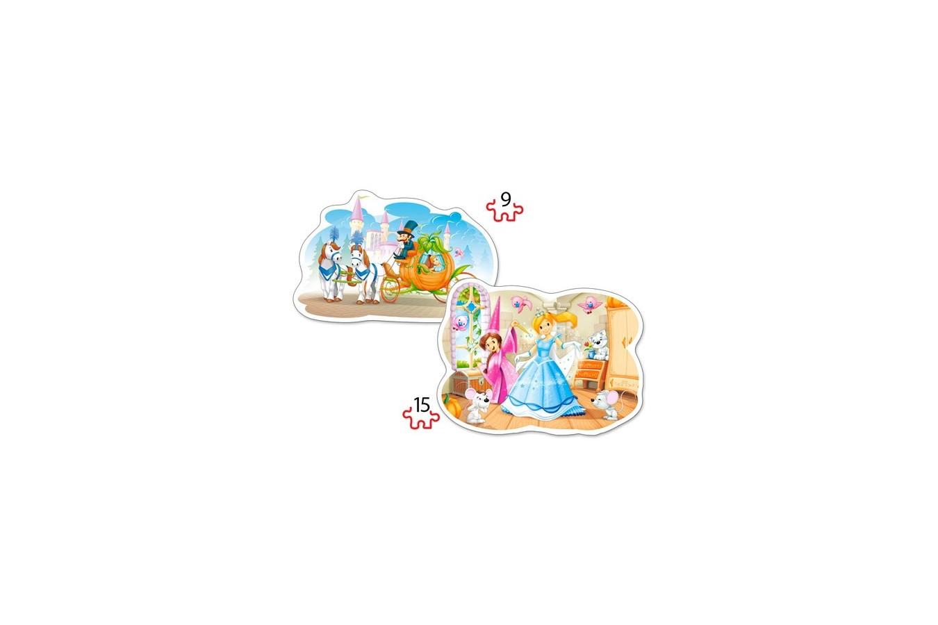 Puzzle Castorland 2 in 1 Contur - Cinderella, 9/15 Piese