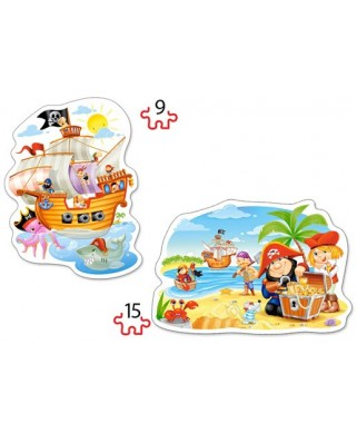 Puzzle Castorland 2 in 1 Contur - Pirate Treasure, 9/15 Piese
