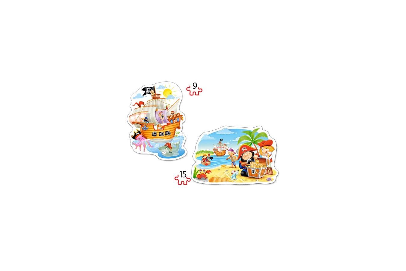 Puzzle Castorland 2 in 1 Contur - Pirate Treasure, 9/15 Piese