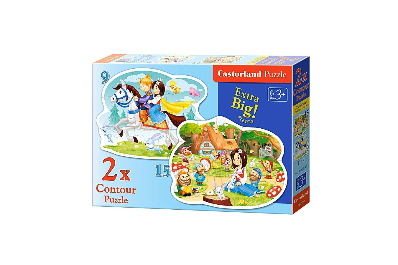 Puzzle Castorland 2 in 1 Contur - Snow White And The Seven Dwarfs, 9/15 Piese