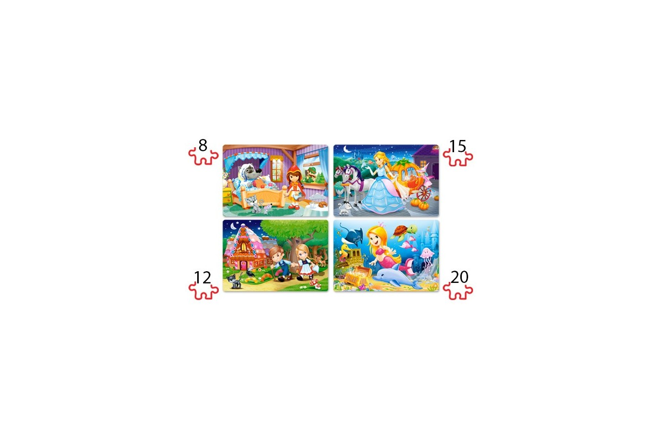 Puzzle 4 in 1 Castorland - Beautiful fairy tales, 8/12/15/20 piese
