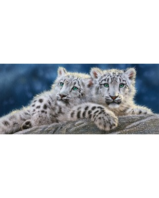 Puzzle Panoramic Castorland - Snow Leopards Cubs, 600 piese