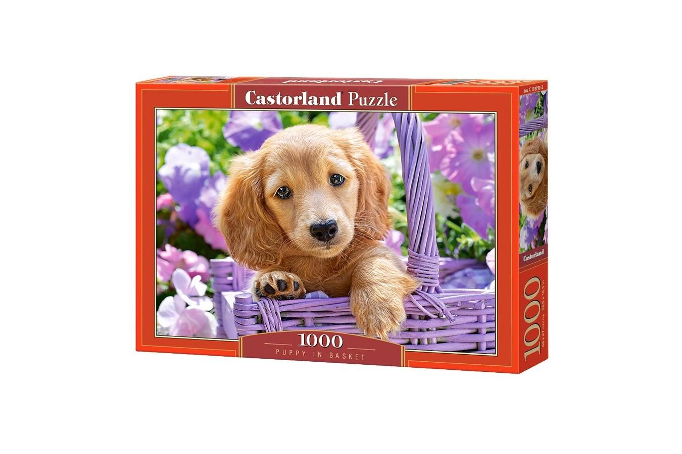 Puzzle Castorland - Puppy in Basket, 1000 piese