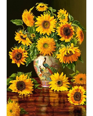 Puzzle Castorland - Sunflowers in a Peacock Vase, 1000 piese
