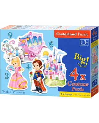 Puzzle Castorland 4 in 1 - World Of Princesses, 3/4/6/9 Piese