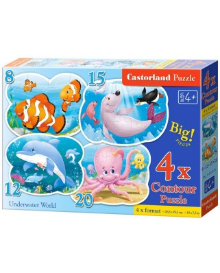 Puzzle Castorland 4 in 1 Contur - Underwater World, 8/12/15/20 Piese