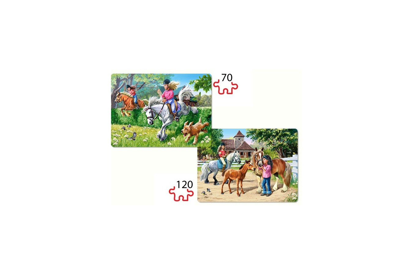 Puzzle Castorland 2 in 1 - Horse Riding, 70/120 piese