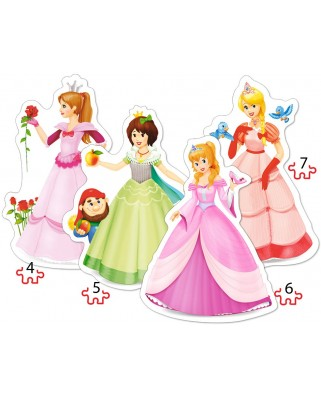Puzzle Castorland 4 in 1 - Pretty Princesses, 4/5/6/7 Piese