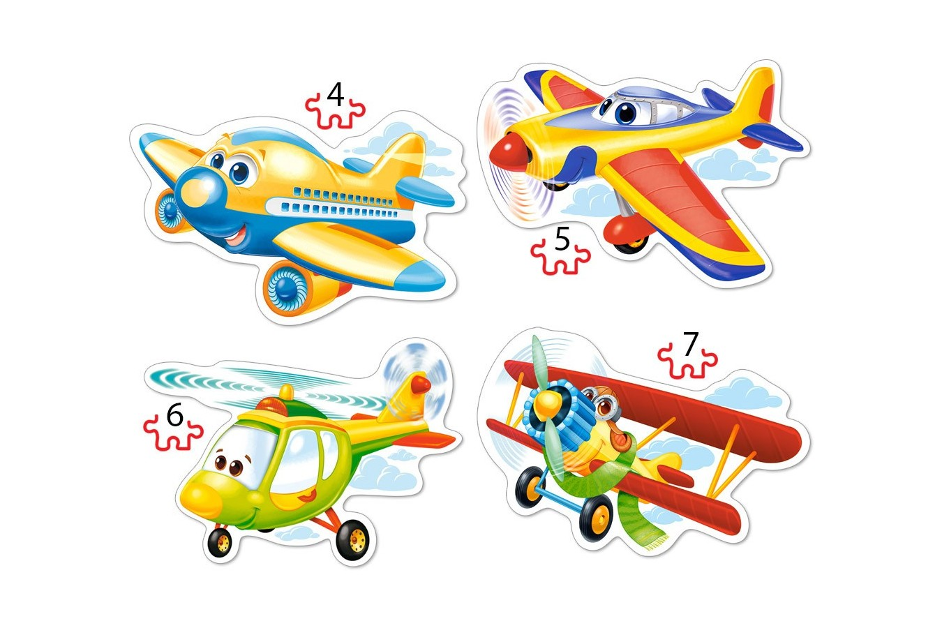 Puzzle 4 in 1 Castorland - Funny Planes, 4/5/6/7 piese