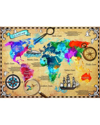Puzzle Bluebird - Colorful World Map, 2.000 piese (70001)