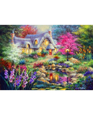 Puzzle Bluebird - Nicky Boehme: Cottage Pond, 1500 piese (70060)