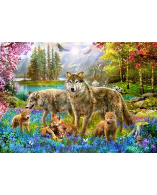Puzzle Bluebird - Spring Wolf Family, 1500 piese (70195)