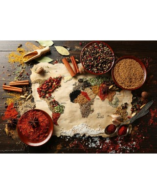 Puzzle Bluebird - World Map In Spices, 3.000 piese (70014)
