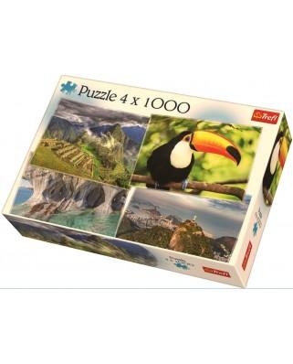 Puzzle Trefl - America De Sud, 4x1.000 piese (90676)