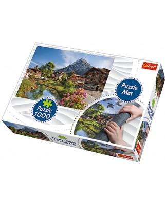 Puzzle Trefl - Cabane In Munti, 1000 piese, include covor pentru rulat puzzle (90724)