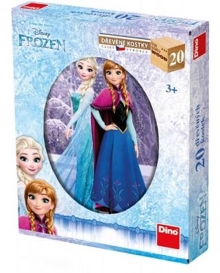 Puzzle cuburi din lemn Dino - Frozen, 20 piese (63024)