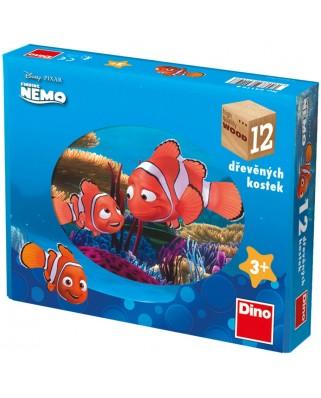Puzzle cuburi din lemn Dino - Nemo, 12 piese (63017)