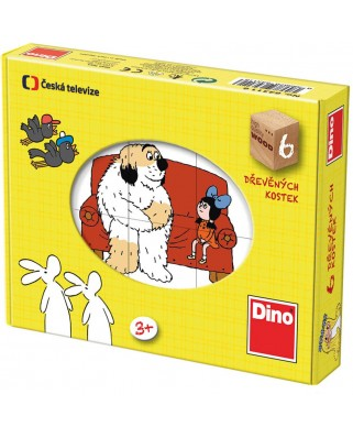 Puzzle cuburi din lemn Dino - Tales, 6 piese (63025)