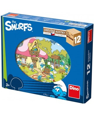 Puzzle din lemn Dino - The Smurfs, 12 piese (63021)