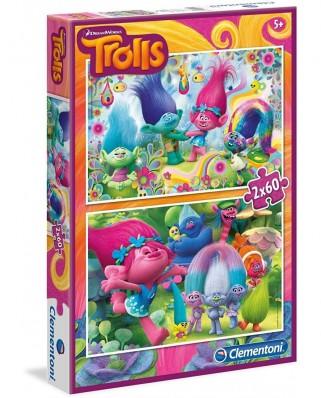 Puzzle Clementoni - Trolls, 2x60 piese (07128)
