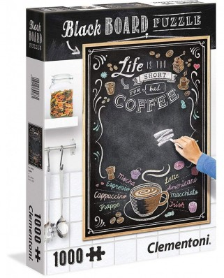 Puzzle Clementoni - Black Board Puzzle - Life is too short, 1.000 piese (39466)