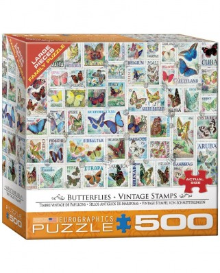 Puzzle Eurographics - Vintage Stamps - Butterflies, 500 piese XXL (8500-5356)