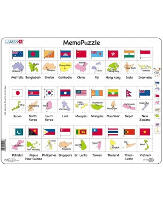 Puzzle Larsen - The Flags and Capitals of 27 Countries in Asia and the Pacific, 54 piese (GP7-GB)