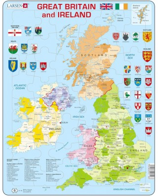 Puzzle Larsen - Map Of Great Britain and Ireland, 48 piese (K18-GB)