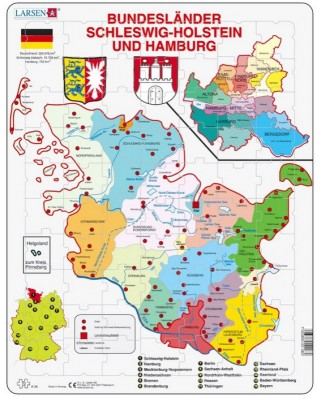 Puzzle Larsen - Bundesland - Hamburg and Schleswig - Holstein, 70 piese (K28-DE)