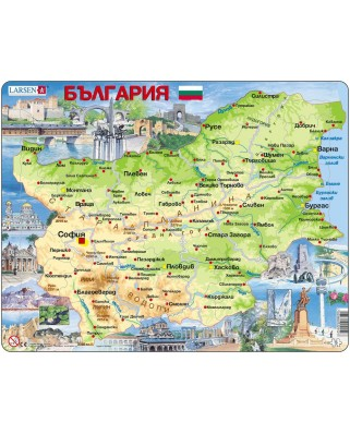 Puzzle Larsen - Physical Map of Bulgaria, 75 piese (K52-BG)