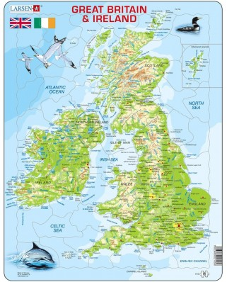 Puzzle Larsen - Map Of Great Britain and Ireland, 80 piese (K5-GB)