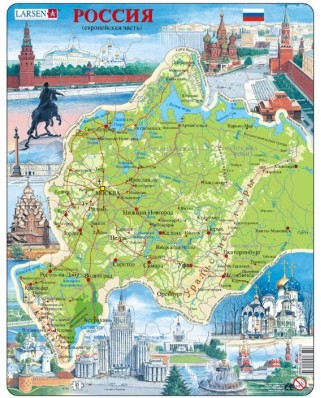Puzzle Larsen - Map Of Russia (Russian), 81 piese (K64-RU)